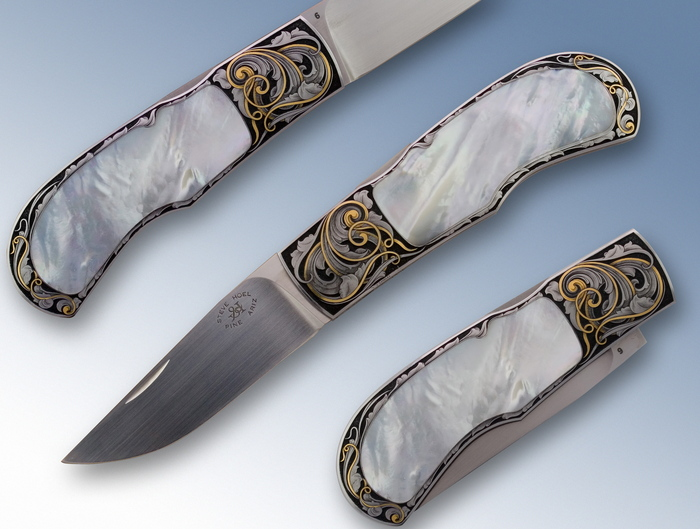 Custom Folding-Inter-Frame, Lock Back, ATS-34 Steel, Mother Of Pearl Knife made by Steve Hoel