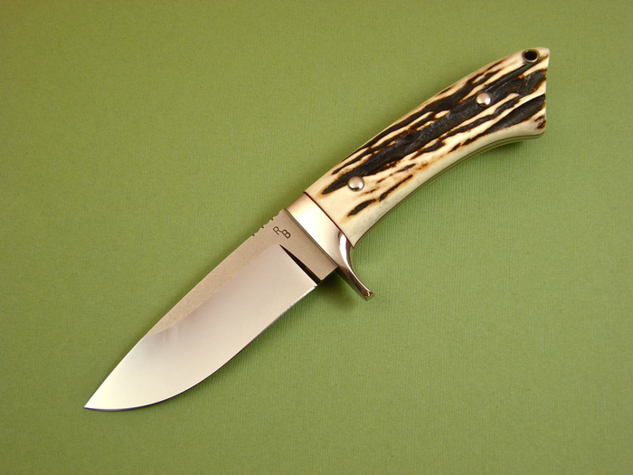 Custom Fixed Blade, N/A, ATS-34 Stainless Steel, Natural Stag Knife made by Ray Beers