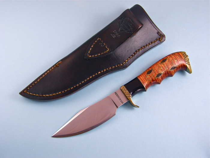 Custom Fixed Blade, N/A, Forged 5160 Carbon Steel, Tiger Striped Maple with wire inlays Knife made by Jay Hendrickson