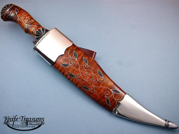 Custom Fixed Blade, N/A, Forged 5160 Carbon Steel, Tiger Maple Scabbard w/inlays Knife made by Jay Hendrickson