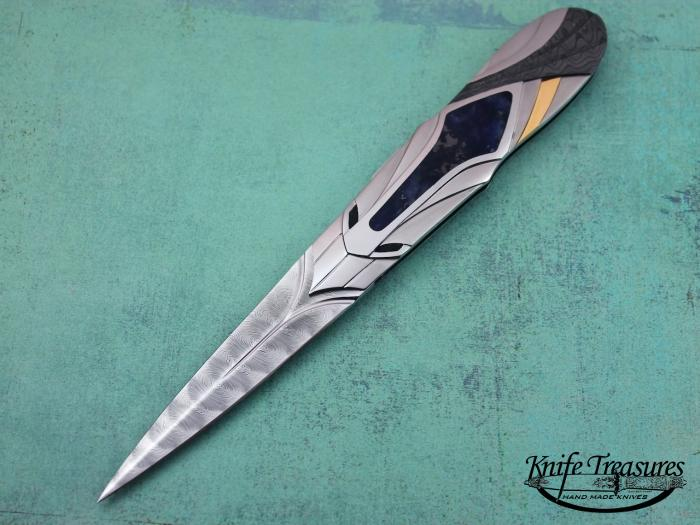 Custom Folding-Inter-Frame, N/A, Damascus Steel, Gold, Amber, Damascus, 416 Steel Knife made by Ronald Best