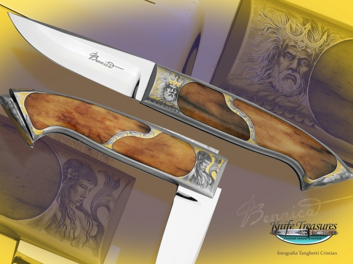 Custom Folding-Inter-Frame, N/A, ATS-34 Stainless Steel, Giraffe Bone Knife made by Charlie Bennica