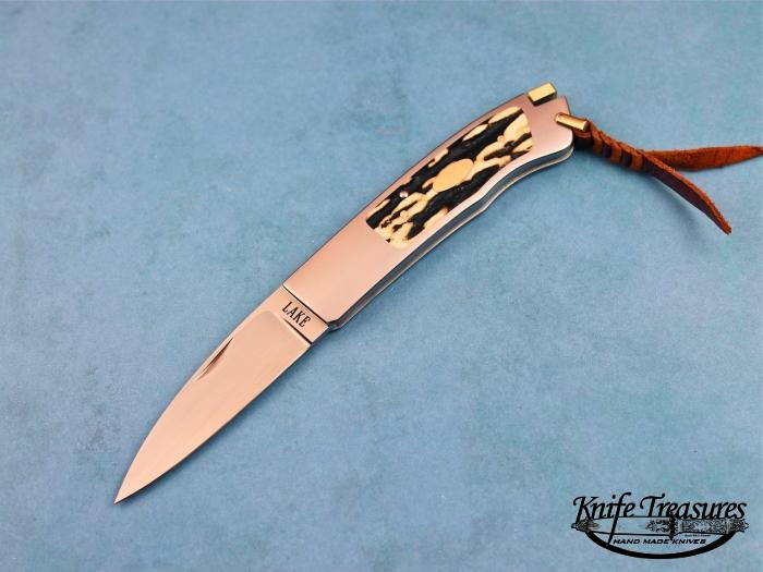 Custom Folding-Inter-Frame, Tail Lock, ATS-34 Stainless Steel, Sambar Stag Knife made by Ron Lake