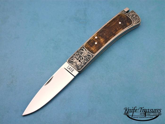 Custom Folding-Inter-Frame, Tail Lock, ATS-34 Stainless Steel, Rams Horn Knife made by Ron Lake