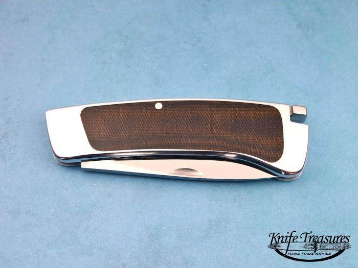 Custom Folding-Inter-Frame, Tail Lock, ATS-34 Stainless Steel, Brown Micarta Knife made by Ron Lake