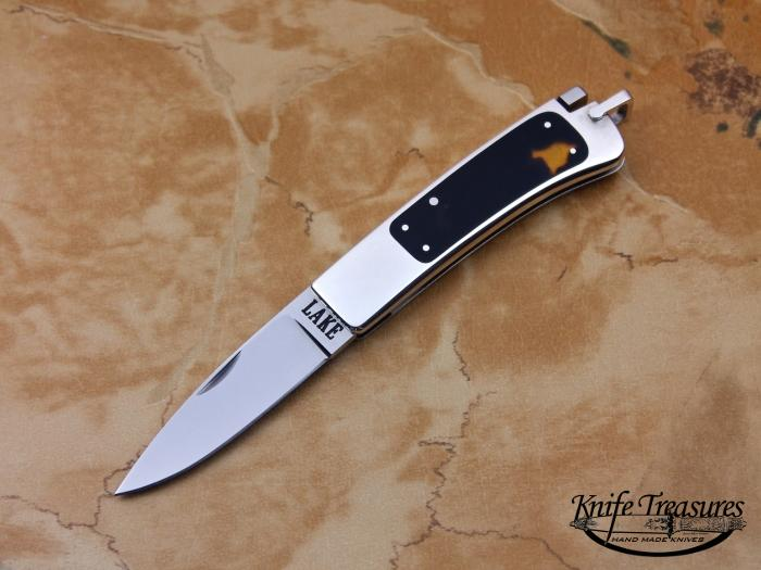 Custom Folding-Inter-Frame, Tail Lock, ATS-34 Stainless Steel, Exotic Scales Knife made by Ron Lake