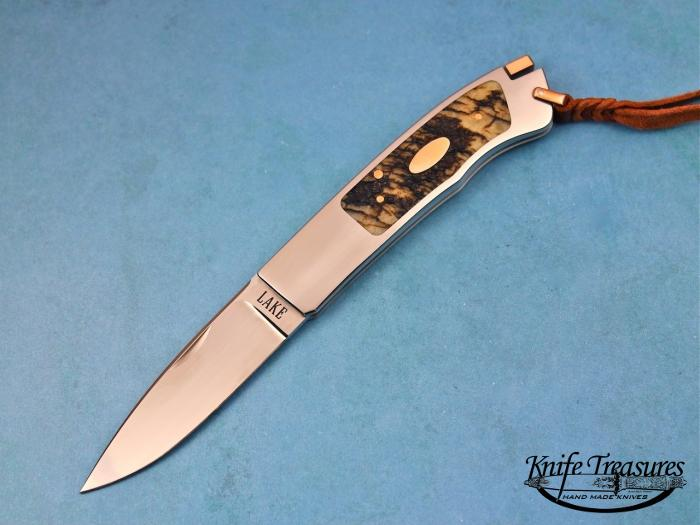 Custom Folding-Inter-Frame, Tail Lock, ATS-34 Stainless Steel, Sheep Horn Knife made by Ron Lake