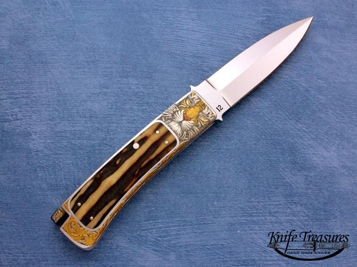 Custom Folding-Inter-Frame, Tail Lock,  A-2 Stainless Steel, Amber Stag Knife made by Ron Lake
