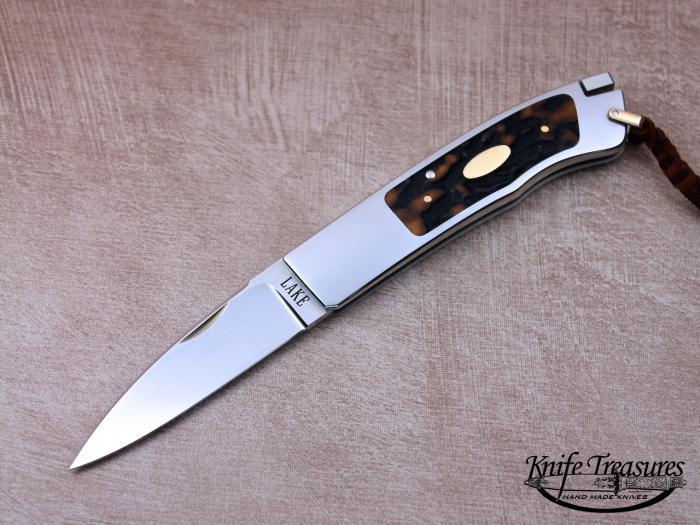 Custom Folding-Inter-Frame, Tail Lock, ATS-34 Stainless Steel, Amber Stag Knife made by Ron Lake