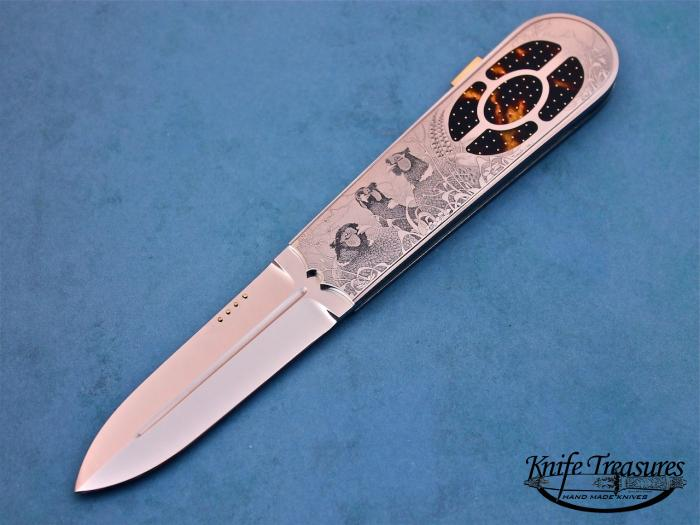 Custom Folding-Inter-Frame, Lock Back, RWL-34 Steel, Exotic Scales w/Gold Pins Knife made by Antonio Fogarizzu