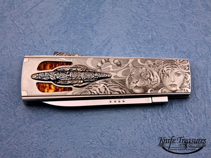 Custom Folding-Inter-Frame, Lock Back, ATS-34 Stainless Steel, Amber & Mosaic Damascus Knife made by Antonio Fogarizzu