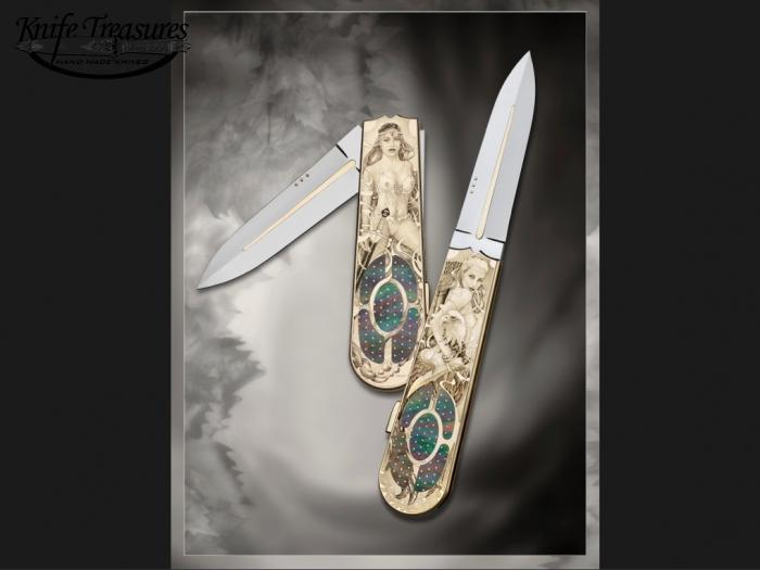 Custom Folding-Inter-Frame, Lock Back, ATS-34 Stainless Steel, Black Lip Pearl W/Gold Pins Knife made by Antonio Fogarizzu