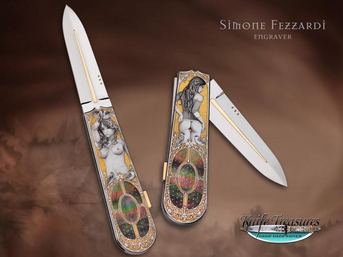 Custom Folding-Inter-Frame, Lock Back, ATS-34 Stainless Steel, Black Lip Pearl Knife made by Antonio Fogarizzu