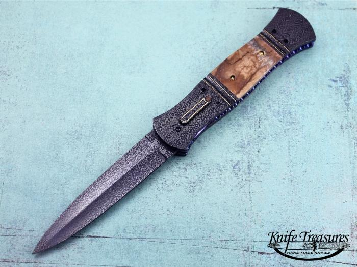 Custom Folding-Bolster, Liner Lock, Doug Ponzio Turkish Damascus, Fosslized Mammoth Tooth Knife made by Jim  Minnick