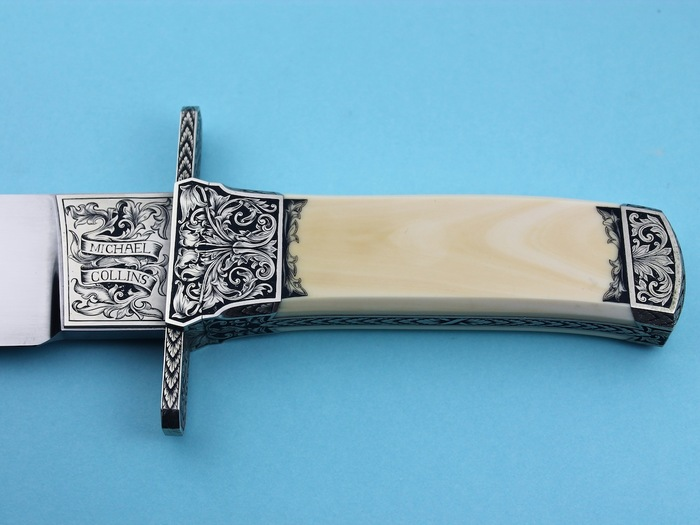 Custom Fixed Blade, N/A, 440-C Stainless Steel, Antique Ivory Knife made by Michael Collins