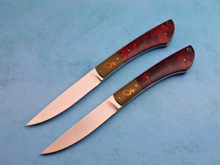 Custom Fixed Blade, N/A, 440-C Stainless Steel, Stabilized Maple Burl Knife made by Bertie Rietveld