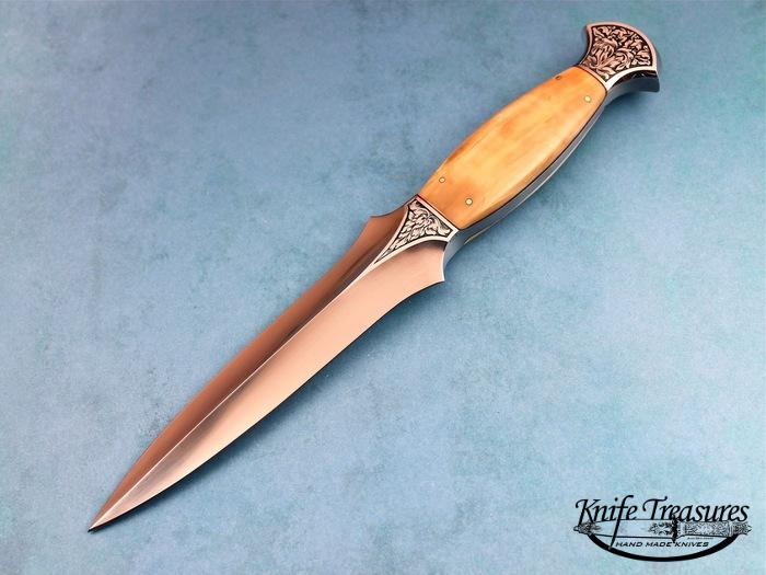 Custom Fixed Blade, N/A, ATS-34 Stainless Steel, Walrus Ivory Knife made by Willie Rigney
