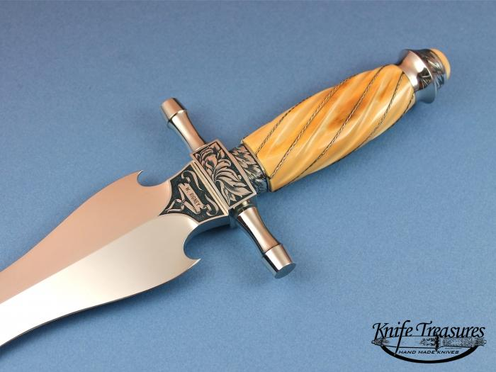 Custom Fixed Blade, N/A, ATS-34 Stainless Steel, Fluted Mammoth Ivory with Silver wire Knife made by Willie Rigney