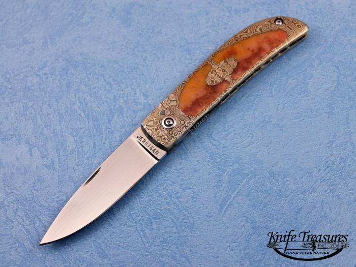 Custom Folding-Inter-Frame, Liner Lock, ATS-34 Stainless Steel, Coral Agate Inlays Knife made by Steve Jernigan