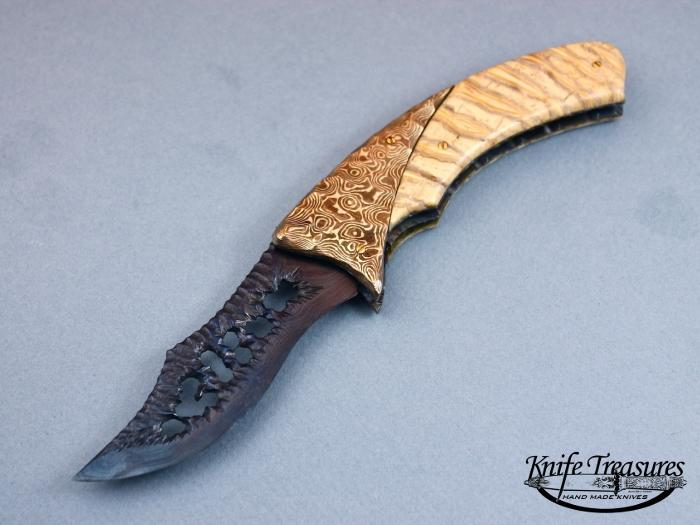 Custom Folding-Bolster, Liner Lock, Delbert Early Damascus, Fosslized Mammoth Tooth Knife made by Arthur Whale