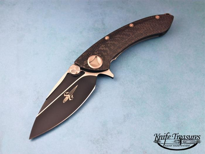 Custom Folding-Inter-Frame, Liner Lock, Stainless S35-VN Steel-Black Ceramic Coating, Carbon Fiber Knife made by Anthony Marfione
