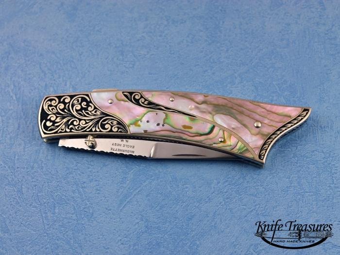 Custom Fixed Blade, Mid-Lock, 154 CM, Abalone Knife made by Harvey McBurnette