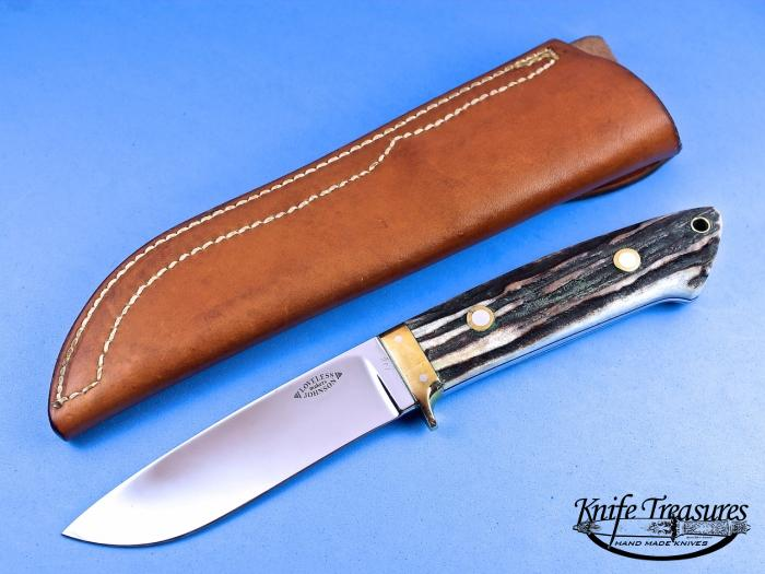 Custom Fixed Blade, N/A, ATS-34 Stainless Steel, Stag Knife made by Johnson Loveless