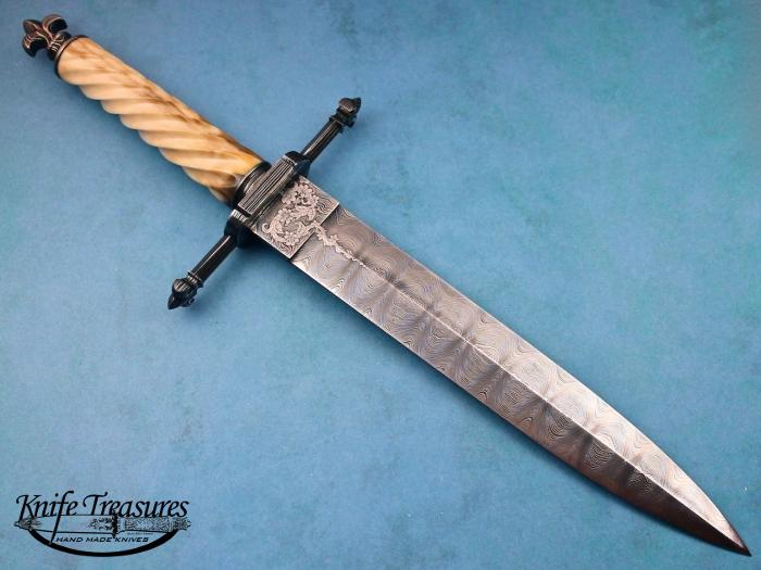 Custom Fixed Blade, N/A, Ladder Pattern Damascus By Jim, Fluted Fossilized Walrus Ivory Knife made by Jim  Schmidt