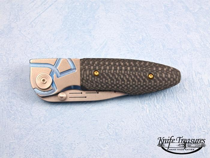 Custom Folding-Bolster, Liner Lock, Stone Wash ATS-34 Steel, Carbon Fiber Knife made by Allen Elishewitz