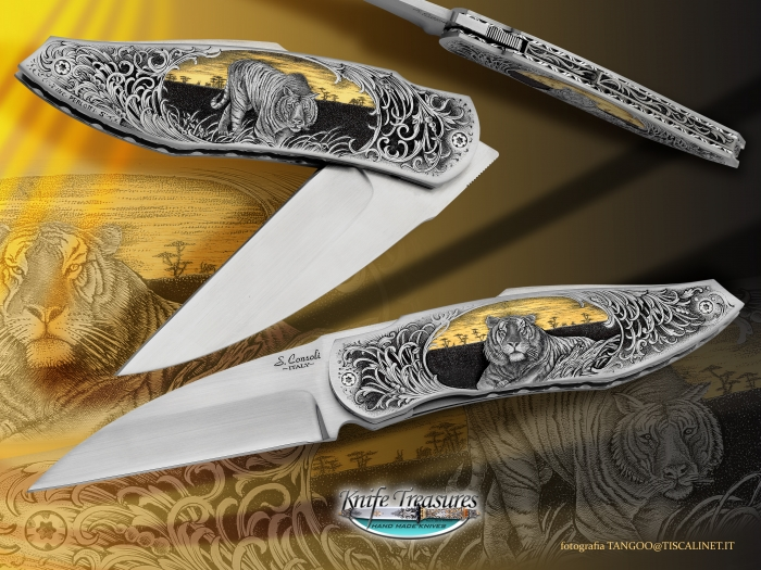 Custom Folding-Bolster, Liner Lock, RWL-34, 416 Stainless Steel Knife made by Sergio Consoli