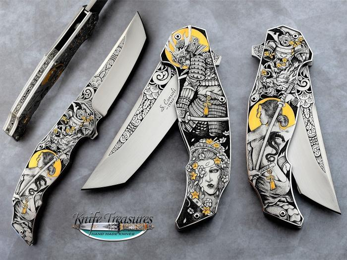 Custom Folding-Inter-Frame, Liner Lock, RWL-34, 416 Stainless Steel Knife made by Sergio Consoli