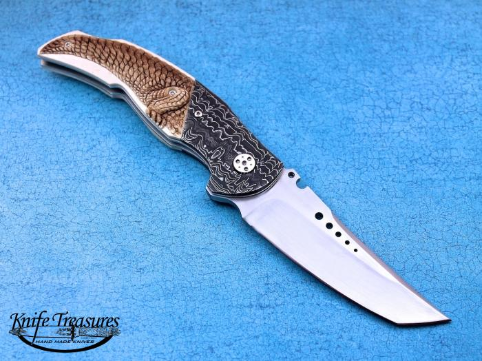 Custom Folding-Bolster, Liner Lock, RWL-34 Steel, Carved Fossilized Mammoth Knife made by Sergio Consoli