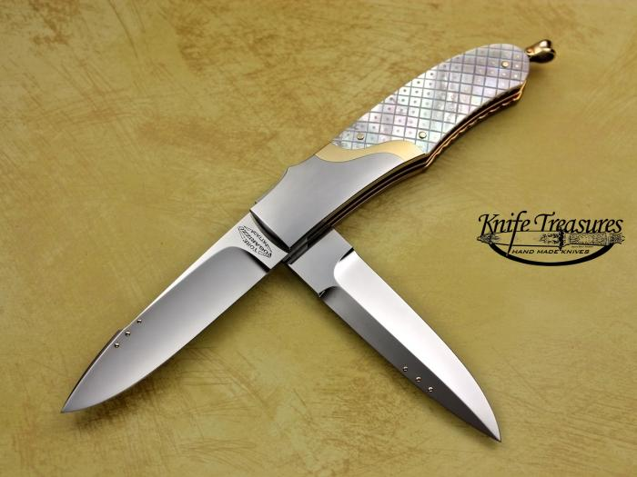 Custom Folding-Bolster, Tail Lock, ATS-34 Steel, Piqued Mother Of Pearl w/Gold Pins Knife made by Tore Fogarizzu
