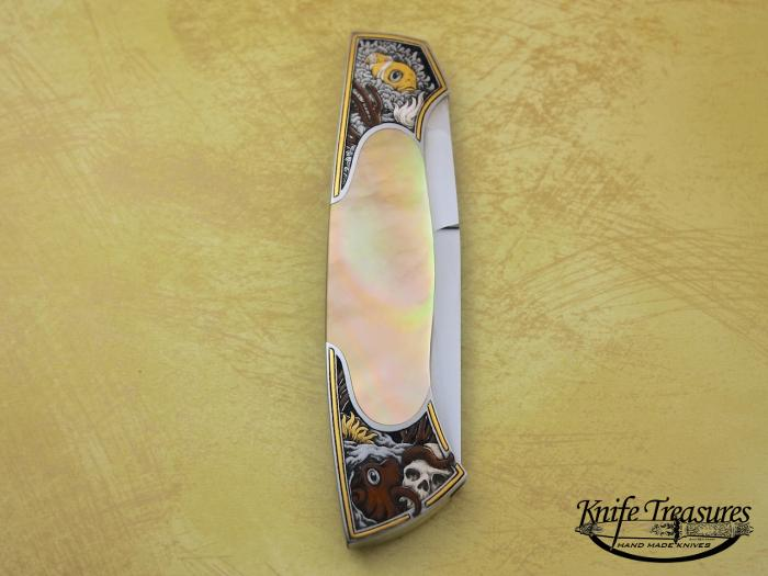 Custom Folding-Bolster, Front Lock, ATS-34 Stainless Steel, Gold Lip Pearl Knife made by Tim Herman