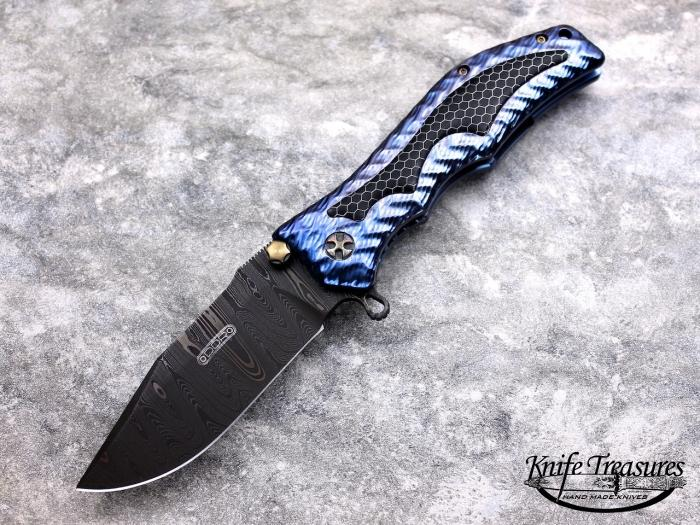 Custom Folding-Inter-Frame, Liner Lock, Chad Nichols Damascus Steel, Black Ctech Inlay Knife made by Darrel Ralph