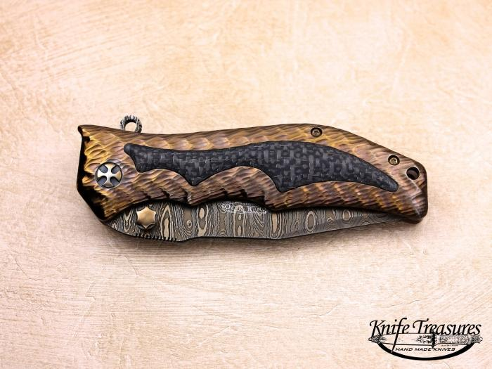 Custom Folding-Inter-Frame, Liner Lock, Chad Nichols Damascus Steel, Carbon Fiber Inlay Knife made by Darrel Ralph
