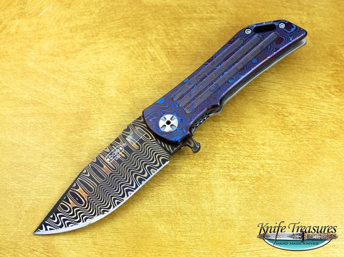 Custom Folding-Inter-Frame, Liner Lock, Chad Nichols Damascus Steel, Raindrop Mokuti Knife made by Darrel Ralph