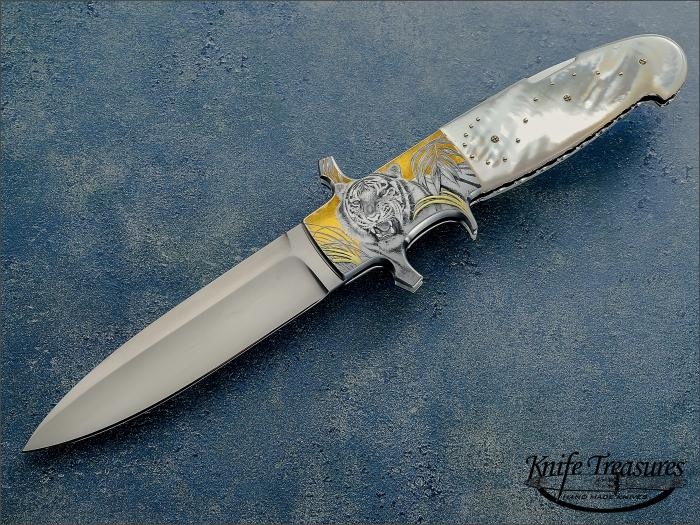 Custom Folding-Bolster, Lock Back, RWL-34 Steel, Mother Of Pearl Knife made by Fabrizio Silvestrelli