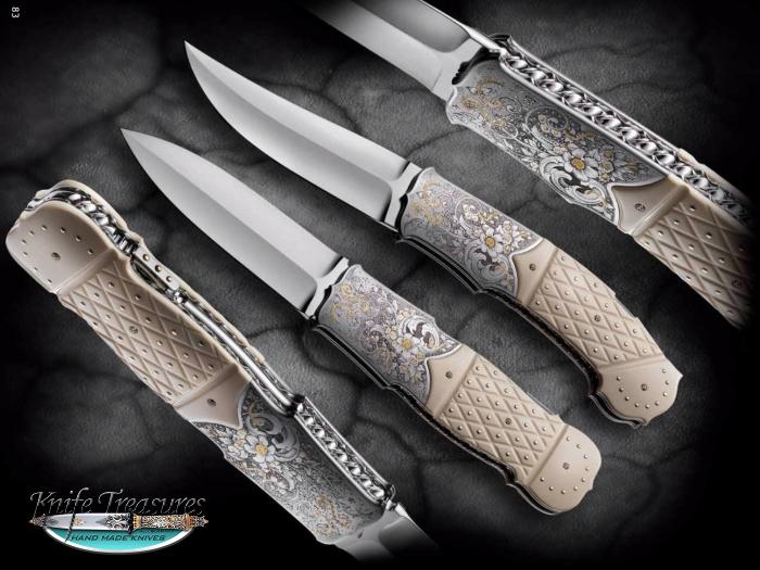Custom Folding-Bolster, Lock Back, RWL-34 Stainless Steel , Fossilized Mammoth Knife made by Fabrizio Silvestrelli