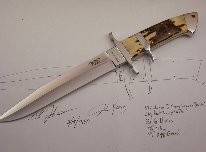 Custom Fixed Blade, N/A, ATS-34 Steel, Mammoth Ivory Knife made by J Young SR Johnson