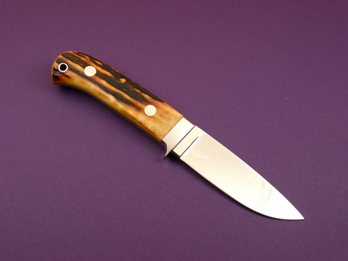 Custom Fixed Blade, N/A, ATS-34 Steel, Amber Stag Knife made by John  Young