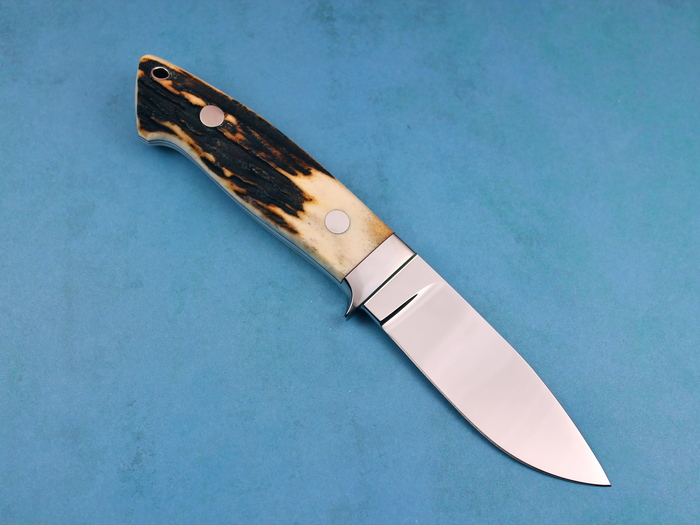 Custom Fixed Blade, N/A, ATS-34 Steel, Natural Stag Knife made by John  Young