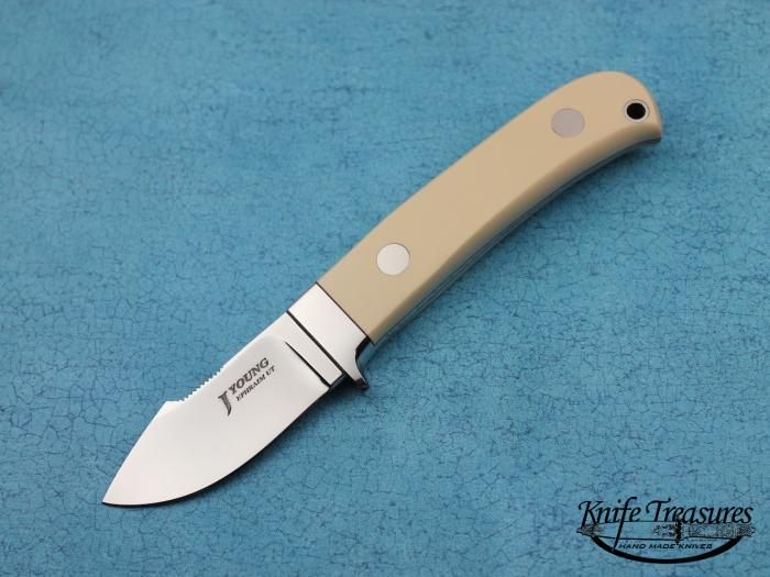 Custom Fixed Blade, N/A, ATS-34 Stainless Steel, White Micarta Knife made by John  Young