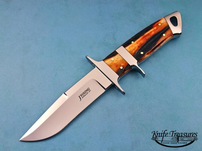 Custom Fixed Blade, N/A, ATS-34 Stainless Steel, Amber Stag Knife made by John  Young