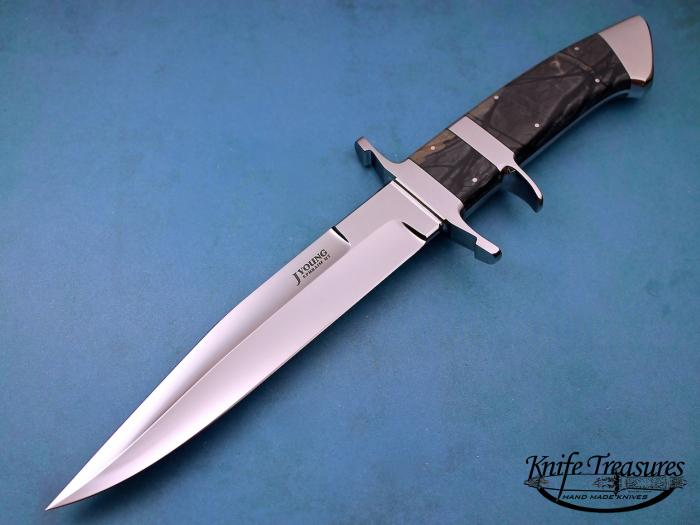 Custom Fixed Blade, N/A, ATS-34 Stainless Steel, Marble Knife made by John  Young
