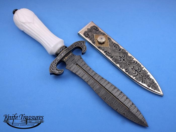Custom Fixed Blade, N/A, Rob Thomas Ladder Pattern Damascus, Carved White Marble Knife made by Julie Warenski-Erickson