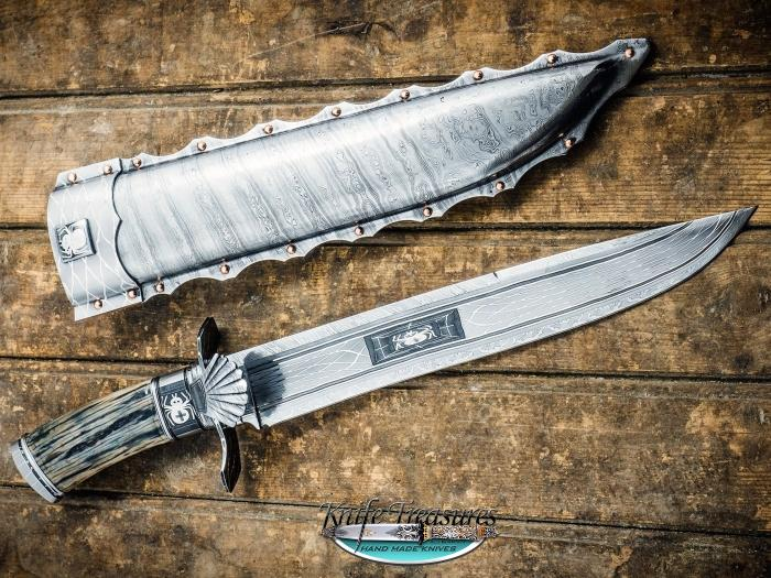 Custom Fixed Blade, N/A, Damascus Steel by Maker, Fossilized Mammoth Knife made by Michael  Anderson