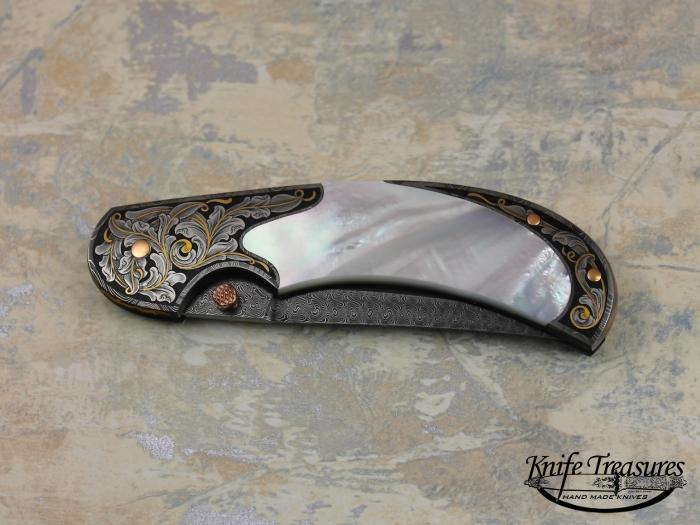 Custom Folding-Bolster, Lock Back, Jerry Rados Turkish Twist Damascus, Mother Of Pearl Knife made by Tom Overeynder