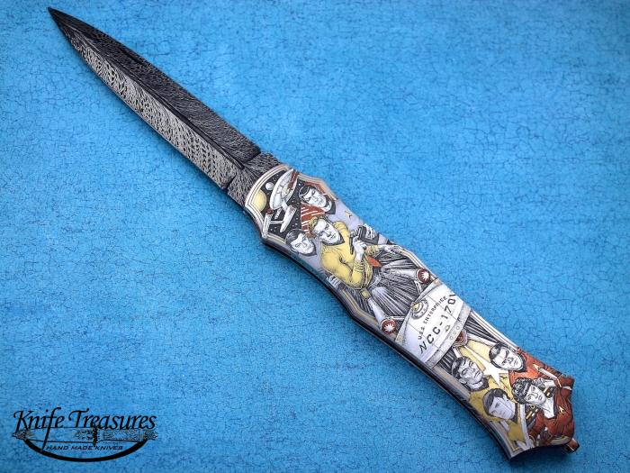 Custom Folding-Inter-Frame, Lock Back, Feather Pattern Damascus, 416 Stainless Steel Knife made by Tom Overeynder