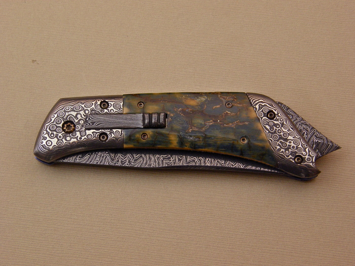 Custom Folding-Bolster, Liner Lock, Damascus Steel, Fossilized Mammoth Knife made by Don  Hanson III